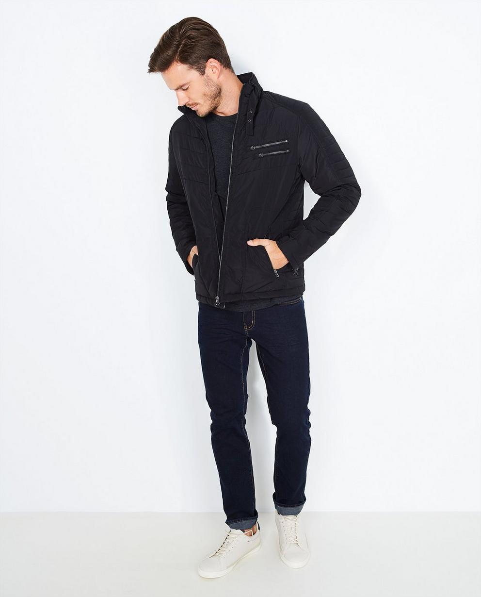 Zwarte gewatteerde jas - met ritsen - Iveo